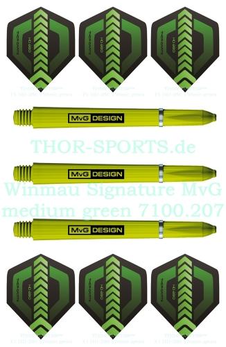 Winmau MvG Signature Shaft medium grün 1 Set (3 Stück) + 2 Set (6 Stück) THOR F1 Flights 150 micron Standardform
