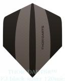 THOR-DARTS F3 schwarz-silbergrau Set (3 Stück) 150 micron Flights