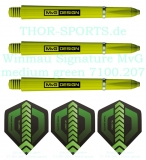 Winmau MvG Signature Shaft medium grün 3 Set (9 Stück) + 2 Set (6 Stück) THOR F1 Flights 150 micron Standardform / Michael van Gerwen Stems