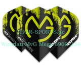 Winmau MvG Flights Mega Standard 1 Set (3pcs) 6900-234 Michael van Gerwen black green 75 micron