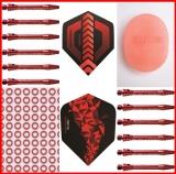 1 Set (3 Stück) rote 48mm medium Schäfte aluminium